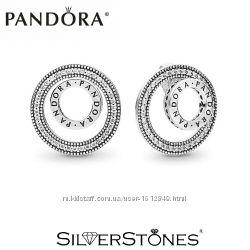 Скидки Оригинал Пандора серьги с логотипом Pandora арт. 297446CZ