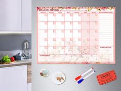 Магнитный планер Rose на месяц. Магнитная доска. Календарь. Подарок.