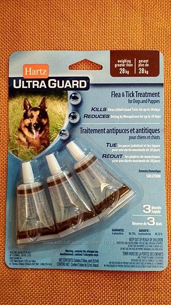Hartz Ultra Guard 3 in 1 Хартс капли от блох клещей комаров для собак 28 кг