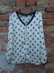 36 Zara очень нарядная блузка блуза, рубашка с зебрами