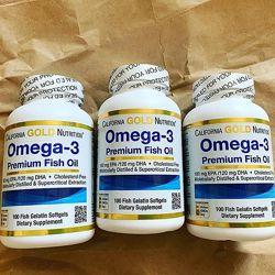 California Gold Nutrition, Омега-3, рыбий жир 100 капсул