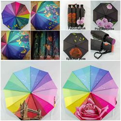 Женский зонт радуга, бабочки, роза