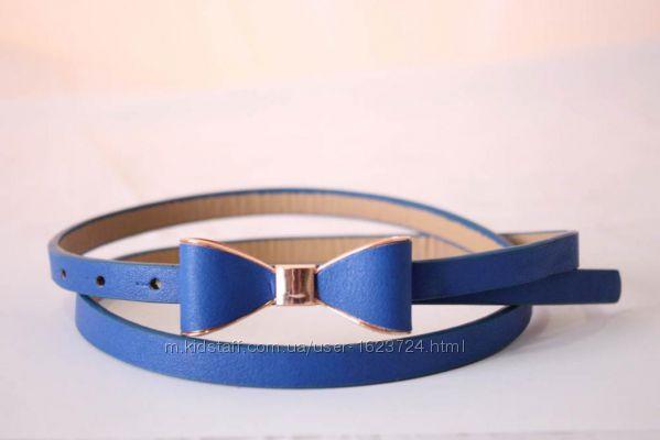 Пояс ремень ремешок синий с бантом