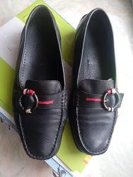 туфли кожаные без каблука, р.37, 24,4 см, черные, немецкие, мокасины