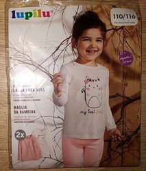 Регланы для девочки 4-6 лет lupilu персиковый в полоску и белый