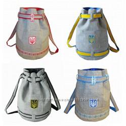Дизайнерский патриотический рюкзак лён тризуб вышиванка Україна герб
