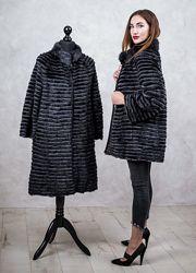 Кардиган из натуральной норки в роспуск, пальто меховое