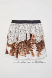 Новая Юбка, юбочка H&M, НМ с котятами размер 92 см, 1, 5-2 г.
