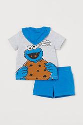 Новый Летний костюм, комплект НМ, H&M костюмчик шорты футболка 86-98
