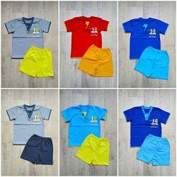 Летний комплект для мальчика футболка и шорты 2,3,4,5,6,7 лет