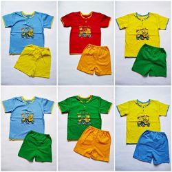 Летний комплект для мальчика футболка и шорты 7,8,9,10,11,12 месяца 1,2 год