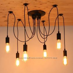 Люстра Паук на 6 ламп из проводов