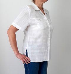 Красивая Блузка рубашка кофточка белая с коротким рукавом вискоза 48 50