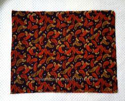 Ткань шёлк коричневый рисунок турецкие огурцы бута Пейсли красные терракот