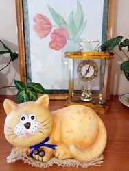 Большой керамический рыжий кот - декор, статуэтка, оберег для кухни