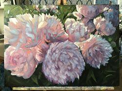 Картина маслом пионы живопись цветы