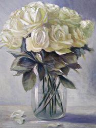 Картина маслом живопись цветы белые розы