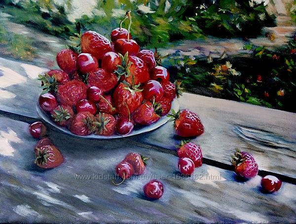 Картина маслом живопись натюрморт ягоды Клубника и черешня