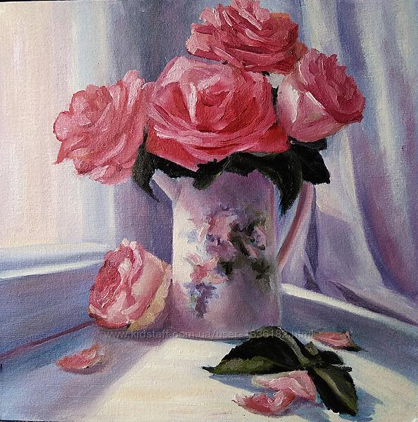 Картина маслом живопись цветы розы на окне