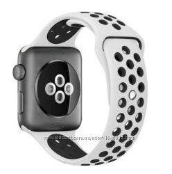 Nike sport loop силиконовый ремешок для apple watch, бело-черный
