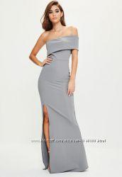 Шикарное вечернее серое платье макси на одно плече с разрезом спереди missg