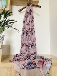 Сногсшибательное лиловое выпускное вечернее платье макси с открытой спиной