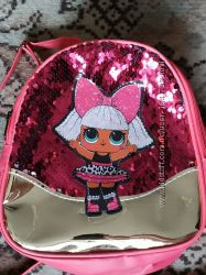 Рюкзачки для девочек с куклой ЛОЛ нежного пудрового цвета с паетками золото