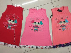 Платье летнее хлопок детское с куклой ЛОЛ для девочки 98 104 110 116 122 см