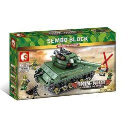 Конструктор Sembo 101304 Танк Sherman M4 437 деталей