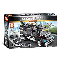 Конструктор Sembo 102477 SWAT фургон база 1164 детали