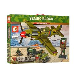 Конструктор Sembo 101382 Военный самолет. Атака с воздуха 649 деталей