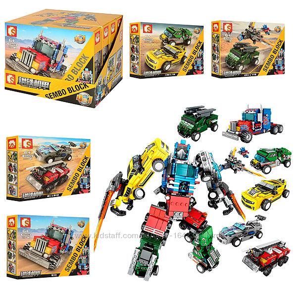 Конструктор Sembo 103225-28 Машины-трансформеры 4 вида 182 деталей