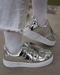 Кроссовки женские Nike Air Force 1 SP Liquid Metal Silver