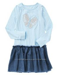 Платье с перламутровой бабочкой и фатиновой юбкой Сrazy8 США Размер 7-8Т