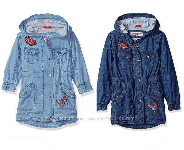 Легкая джинсовая парка с аппликацией и вышивкой на девочку Urban republic