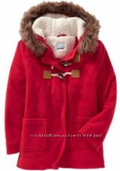 Флисовое красное пальтишко на подкладке с капюшоном Оld Navy США