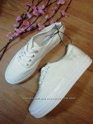 Белые ажурные слипоны на платформе женские H&M Размер 38, 24, 5см