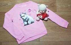 Розовый теплый свитшот с мишкой на байке на девочку Hanes США Размер 6Т
