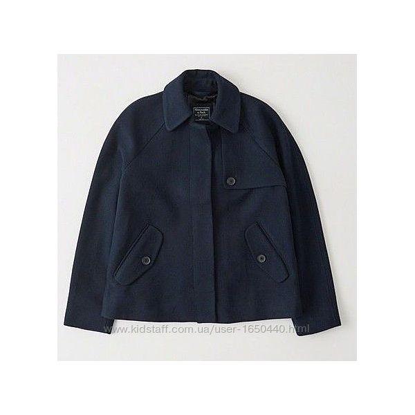 Темно синее Шерстяное пальто расклешенное Abercrombie & Fitch Разм L