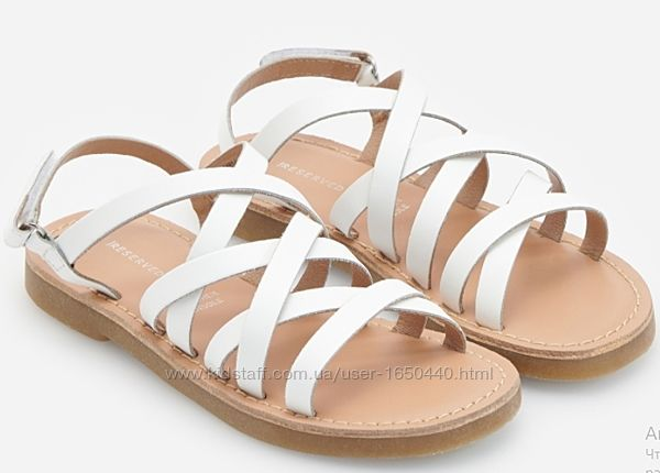 Белые Кожаные  босоножки сандалии  Резервед  Reserved Размер EU37 23.5 см