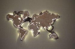 Карта мира декор с подсветкой