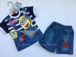 Летний комплект футболка и джинсовые шорты для мальчика