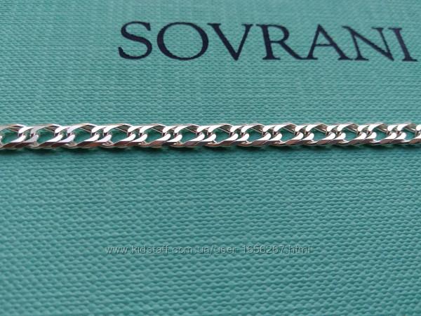 Серебряная цепочка цепь плетение двойной ромб 55, 60 см серебро 925 пробы