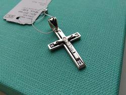 Серебряный крестик крест с черной эмалью Спаси и сохрани серебро 925
