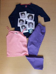 Пакетом 3 вещи - штаники, реглан и маечка на 7-8 лет, рост 122-128
