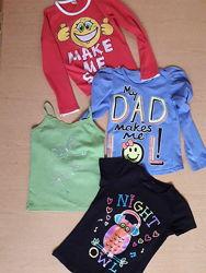 Футболки лонгсливы пакетом - 4 вещи на девочку 6-8 лет.