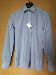 Рубашка голубая в полоску body fit, ворот 40, royal class, германия.