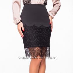 Нарядная юбка карандаш с французским кружевом внизу