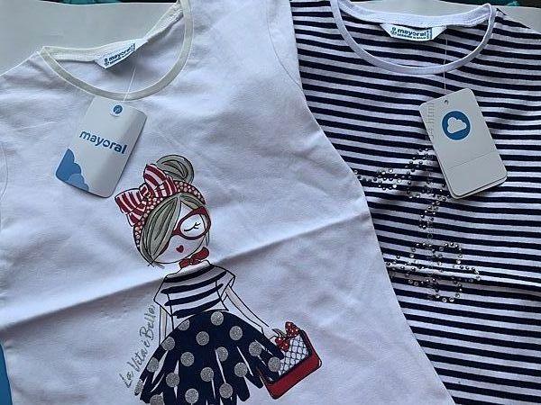 Літні футболки Футболочки для дівчаток на 2 шт Mayoral майорал 5,6