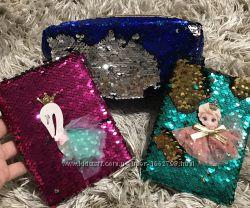 Блокнот пайетка комплект Подарок пенал-косметичка в пайетках Frozen, лебедь